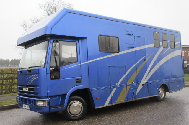 Iveco Eurocargo 75E15 Coach built by PRB. Stalled for 3 with smart living.. Sleeping for 4.. Large external tack locker which does not intrudes into the horse area...Only 59,662 Miles from new!